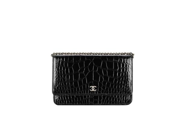 Black alligator leather chain wallet