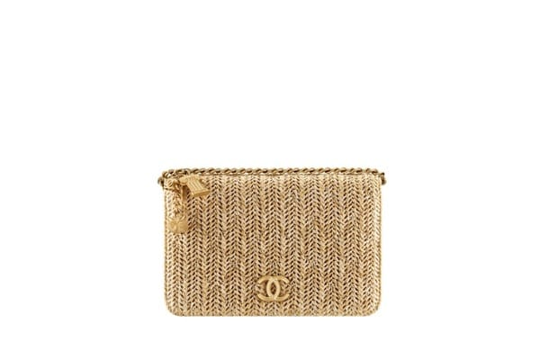 Yellow chain wallet with gold tone CC logo