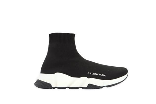 BALENCIAGA Black high top knit sneakers