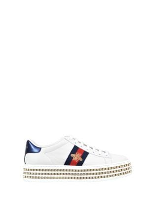 GUCCI Antique bee on white low top sneakers