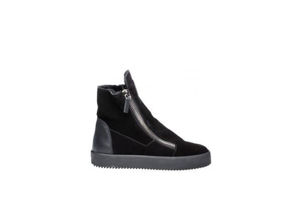 GIUSEPPE ZANOTTI Black velvet high cut platform sneakers