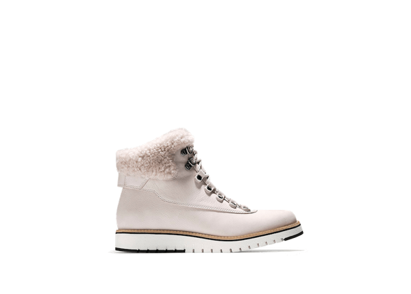 cole haan Pink fur lace up boots