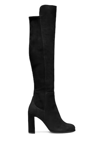 STUART WEITZMAN Black velvet over the knee boots
